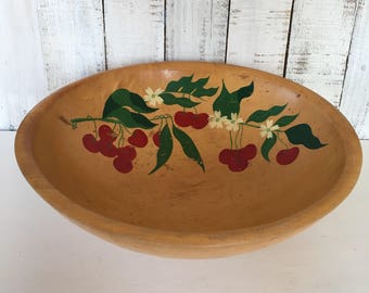 Rio Grande Wood Bowl Cherries Hand Painted Footed Woodenware Kitchen Decor Farmhouse Vintage Mid Century 1950's