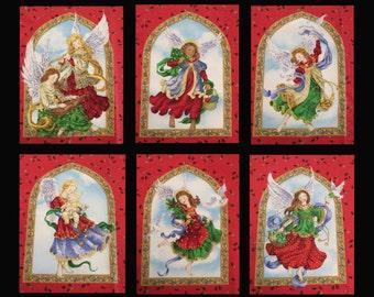 Panneau de panneau «anges de Noël» de Six blocs d'ange colombe flûte pommes de pin et des aiguilles sur rouge #2875 - Ingrid pour le groupe Erlanger - POO