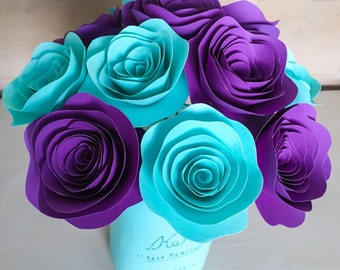 Paper Flowers - Stemmed - Purple - Aqua - Aquamarine - Centerpieces - Wedding Flowers - Home Decor - Baby shower Decor - Rose - With Stems