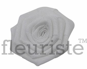 """Burlap Flower, Flat Rolled Rosette, Burlap Rosette, Burlap Rose, Wholesale Flower, Fabric Flower, Burlap Flower, DIY Flower, 3"""", White, 3 Pc"""