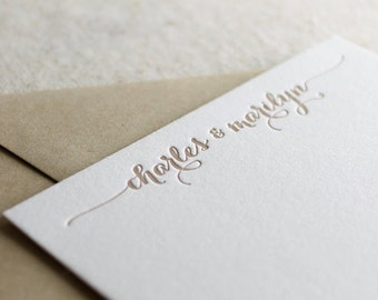 Letterpress cards custom with name, personalized stationery, letterpress stationery