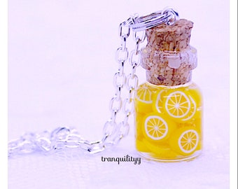 Lemonade Bottle Necklace / Earrings , Planner Charm, Zipper Charm,Lemonade .05ml Bottle Earrings/ Necklace, handmade By: Von'Dez Redman