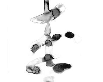 Abstrakte Ink Malerei Wand Kunst minimalistische Kunst schwarz grau weiß Home Dekor Büro Dekor Original abstrakte Tusche Studio abstrakte
