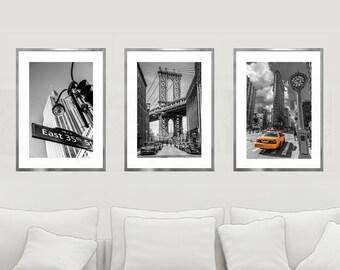 New York Print Set, NYC Wall Decor, Black And White, Set of 3 Prints, New York City Wall Art, NYC Print, Manhattan Bridge, Yellow Cabs Art