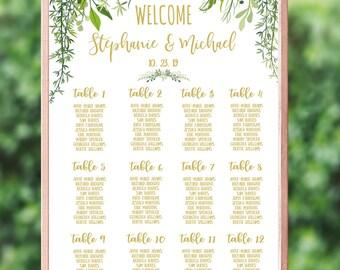Greenery Wedding Seating Chart Template Editable PDF Rustic Wedding Leafy Wedding Printable Seating Plan Beach Wedding Decor #IDWS604_40C