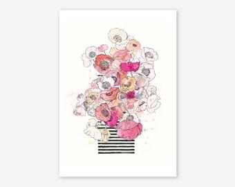 Poppy flowers in vase/Iceland poppies in a vase-fine art Giclée print, floral print, poppy art, poppy flowers, Watercolor poppy flowers