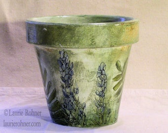Herb and Fern Hand Painted Garden Clay Pot Custom Indoor Planter