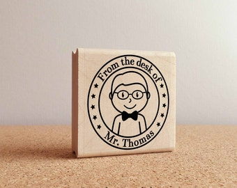 Personalized Male Teacher Rubber Stamp, Custom Teacher or Professor Stamp - Choose Hairstyle and Tie