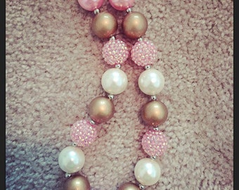 Pink and gold chunky necklace