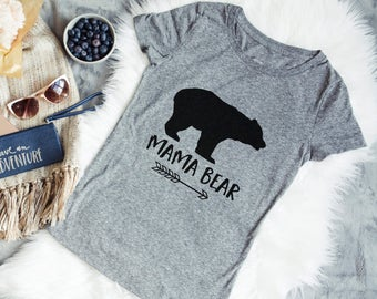 Mama Bear Shirt - Pink or Gray Womans Tee - Mama Bear Tshirt