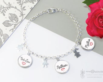 Chain bracelet personalized 925 sterling silver with medals names
