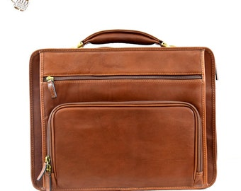 Genuine Vegetable Tanned Leather Laptop Briefcase