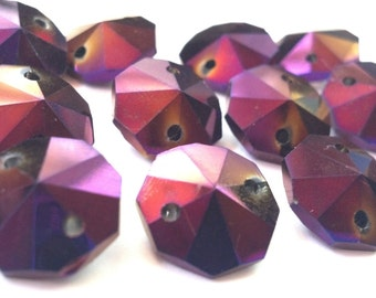 12 Golden Plum 14mm Octagon Chandelier Crystal Beads Iridescent Purple