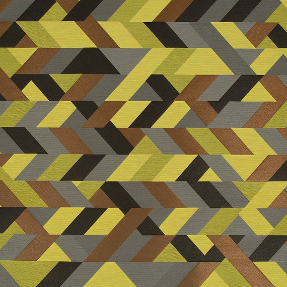 Lemon Yellow Geometric Upholstery Fabric   Modern Grey Yellow Furniture  Material   Grey Kitchen Chair Fabric   Grey Home Decor From PopDecorFabrics  On Etsy ...