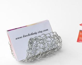 Business Card Holder, Silver Card Holder, Unique Card Holder