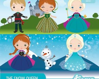 Congelado - archivos del conjunto de imágenes prediseñadas de Reina de las Nieves - descarga inmediata - PNG.