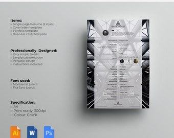 "Resume template / CV template and Cover Letter + Portfolio page. Template for Word/PSD/AI files | ""Shutterbug"" 