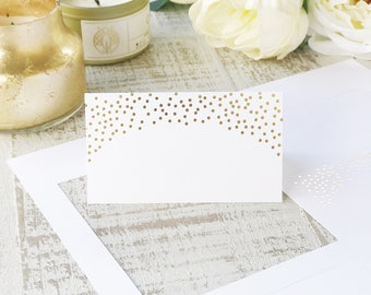 Gold Foil Place Cards, Gold Dots, Printable Perforated Card Stock for Wedding Name & Escort Cards | REAL FOIL | Shape No. 12 | 5 sheets