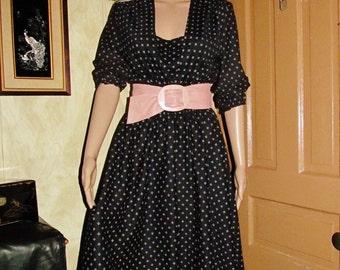 70s/Long/BLACK/WHITE/Print/DRESS/ Woman/Small/Medium/Sleeved/Jersey/ Casual/Elastic Waist/Office/Secretary/ Fall/Fashion/Clothing/Outerwear