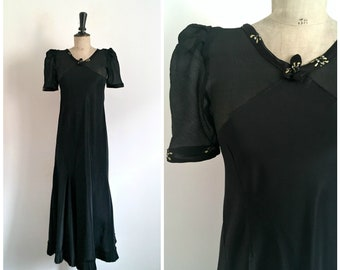Antique 1930s  Art Deco Black Taffeta Maxi Dress Bias Cut / Size Small