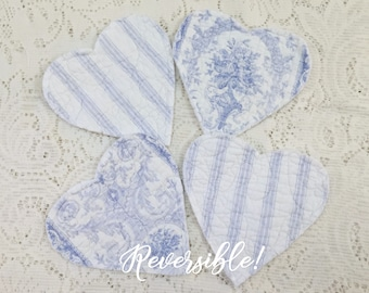 Quilted Heart Coasters Shabby VALENTINE Cottage Tattered Edges Mug Rug REVERSIBLE Blue Toile & Ticking Stripe