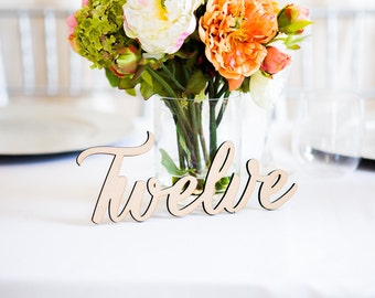 Table Number Words for Wedding Wooden Words for Table Number Wedding Centerpieces Wooden Cutout Numbers (Item - LWN100)