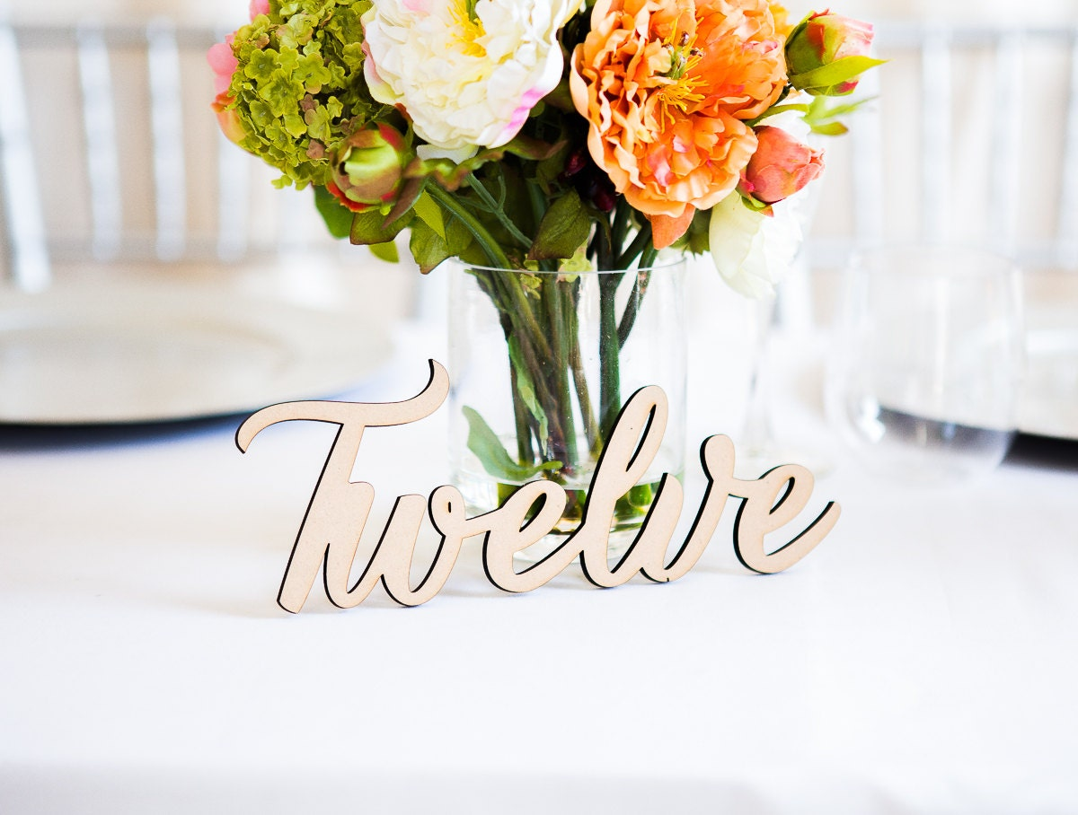 Table Number Words for Wedding Wooden Words for Table Number