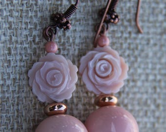Carved Shell and Glass earrings   Pink Rose earrings   Carved Flower   Swarovski Pearl