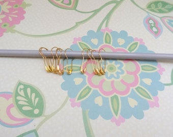 Set of 20, 50 or 100 Gold Removable Stitch Markers for Knit and Crochet Markers,French Bulb Pins,Knit Notions, Fits up to US 10.5 (6.5 mm)