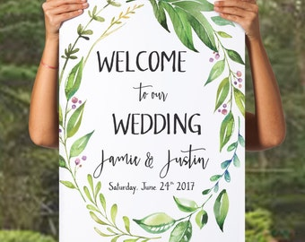 printable welcome to the wedding sign printable green wedding welcome sign greenery wedding decor leafy wreath customised wedding sign diy