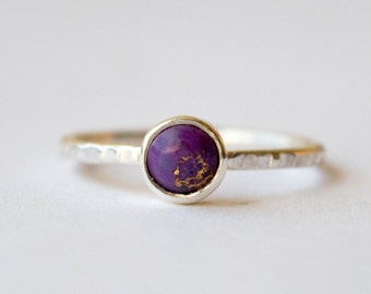 Sterling Silver ring, Gemstone ring, Stackable ring,Hammered thin ring, Stone Stacking Ring, Purple stone ring,Gemstone ring sterling silver