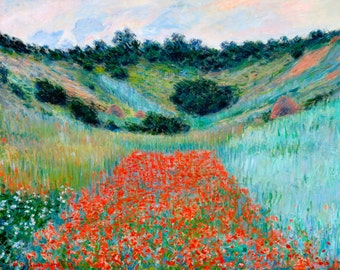 Monet 1885, Poppy Field in a Hollow near Giverny, HD Canvas Print or Art Print, Vintage Antique Artwork Wall Poster French Impressionism