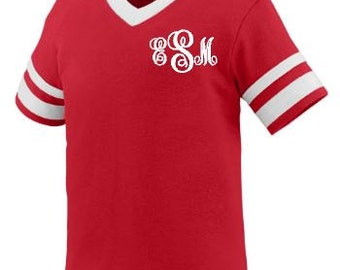 Toddler Monogrammed T-shirt, Toddlers T-shirt, Monogrammed T-shirt, Monogrammed V-neck T-shirt, Monogrammed Jersey, Striped Sleeve Jersey