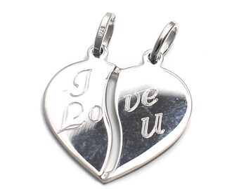 Heart pendant I LOVE YOU in 925 sterling silver