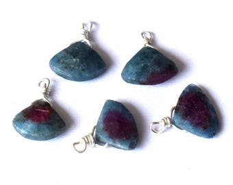 Gorgeous 1 drop pendant has faceted Ruby zoisite on silver wire