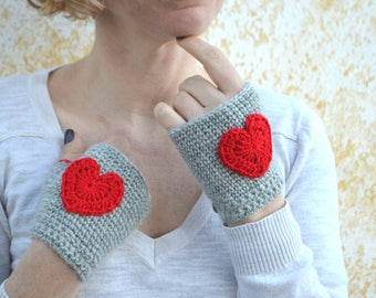 Crochet red heart mittens, grey fingerless gloves, elegant wrist warmers