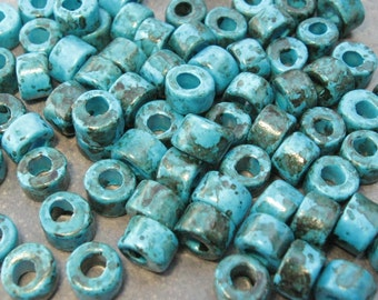 25 SMOKEY BLUE  Mini Tubes 6x4mm Greek Ceramic Large Holed Beads
