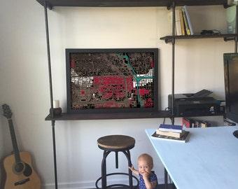 Chicago Bulls Poster, Chicago Art, Chicago Map, Chicago Bulls Art