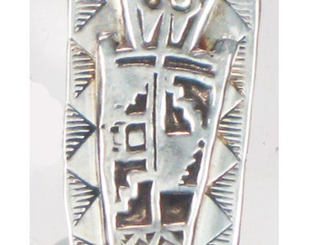 Southwest Shaman Tribal Spirit Talisman - Kiln Fired Fine Silver Petroglyph Shaman Pendant - Shaman Tribal Petroglyph Fine Silver Pendant