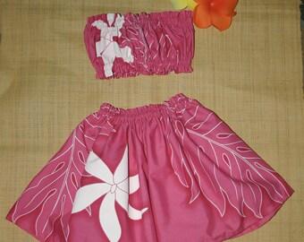Hula Baby ~ Bandeau & Hula Skirt For Tiny Ones ~ Adorable Pink Hula Skirt and Top For Sweet Baby Hula Dancers
