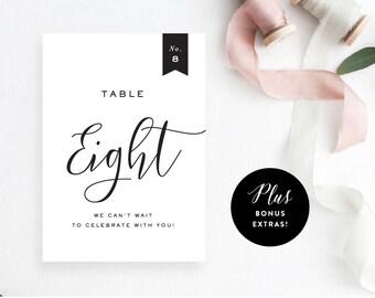 Printable Modern Table Number, Instant PDF Download, Reception Decor, Modern DIY Wedding