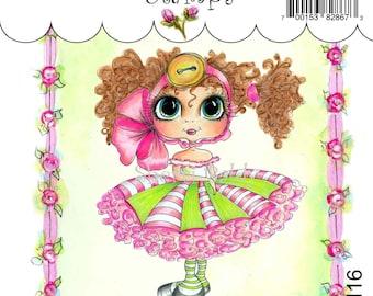 My-Besties Clear Rubber Stamp Big Eye Besties Big Head Dolls Ella Bella Buttons and Bows MYB-0116  By Sherri Baldy