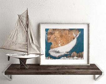 Whale Art, Whale original Art Print, Nautical Print, Nautical Decor, 50 X 70cm Print , Wall Art, Animal print, Fine Art Print, #506WH