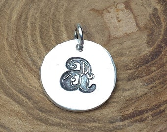 Silver small initial pendant, monogram pendant, personalized pendant, sterling silver small initial charm, bridesmaid gift, mother's day