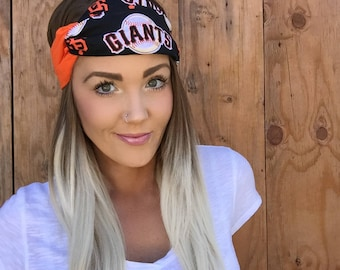 San Francisco Giants Giants Vintage Pinup Turban Headband || Hair Band SF Baseball Cotton Workout Yoga Fashion Black White Orange Head Scarf
