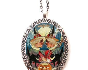 Victorian Witch Necklace Pendant Silver Tone - Witches Black Cat Pumpkin Vintage Halloween