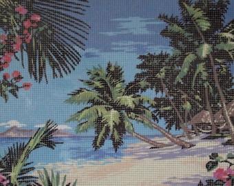 Needlepoint tapestry kit, BEACH, SEASIDE, 40 x 30 cm, TK038