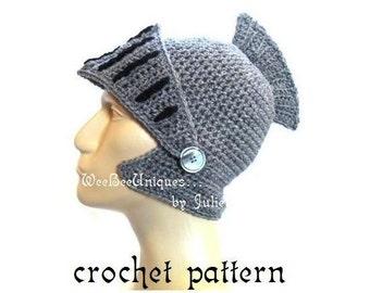 crochet pattern digital download knight helmet hat children & adults