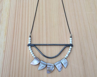 the Melissa moon necklace in magnesite, shell and sterling silver | sterling silver chain | statement necklace | gift for her