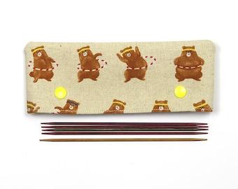 """15cm / 6"""" bear DPN cozy, cute sock knitting needle keeper, DPN holder, gift for knitter"""